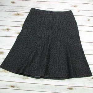 Sandro Charcoal Gray Animal Print Flared Skirt 12